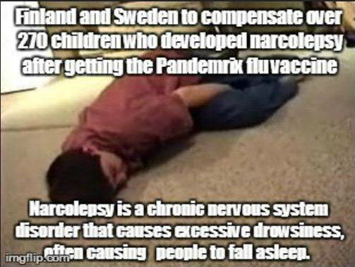 pandemrix vaccine direct link to narcolepsy